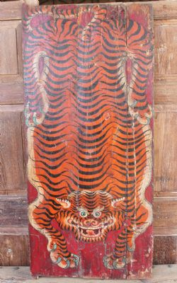 Antique Tibetan Tiger Door with a Red Background - <b>SOLD<b>